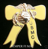 MARINE YELLOW RIBBON HAT PIN USMC US MARINES IRAQ AFGHANISTAN SUPPORT OUR TROOPS