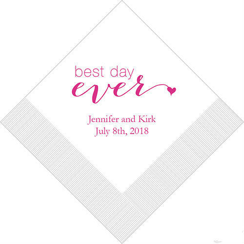 Best Time Of Day For Wedding: 100 Best Day Ever Personalized Wedding Cocktail Napkins