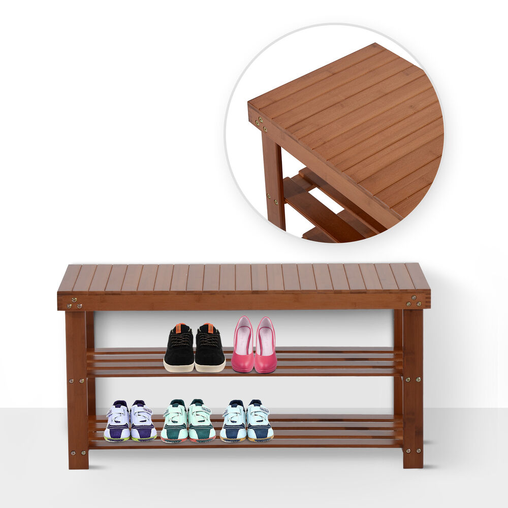 Homcom Wooden Shoe Bench Rack Seat 2 Shelf Storage Organizer Entryway Red Brown Ebay