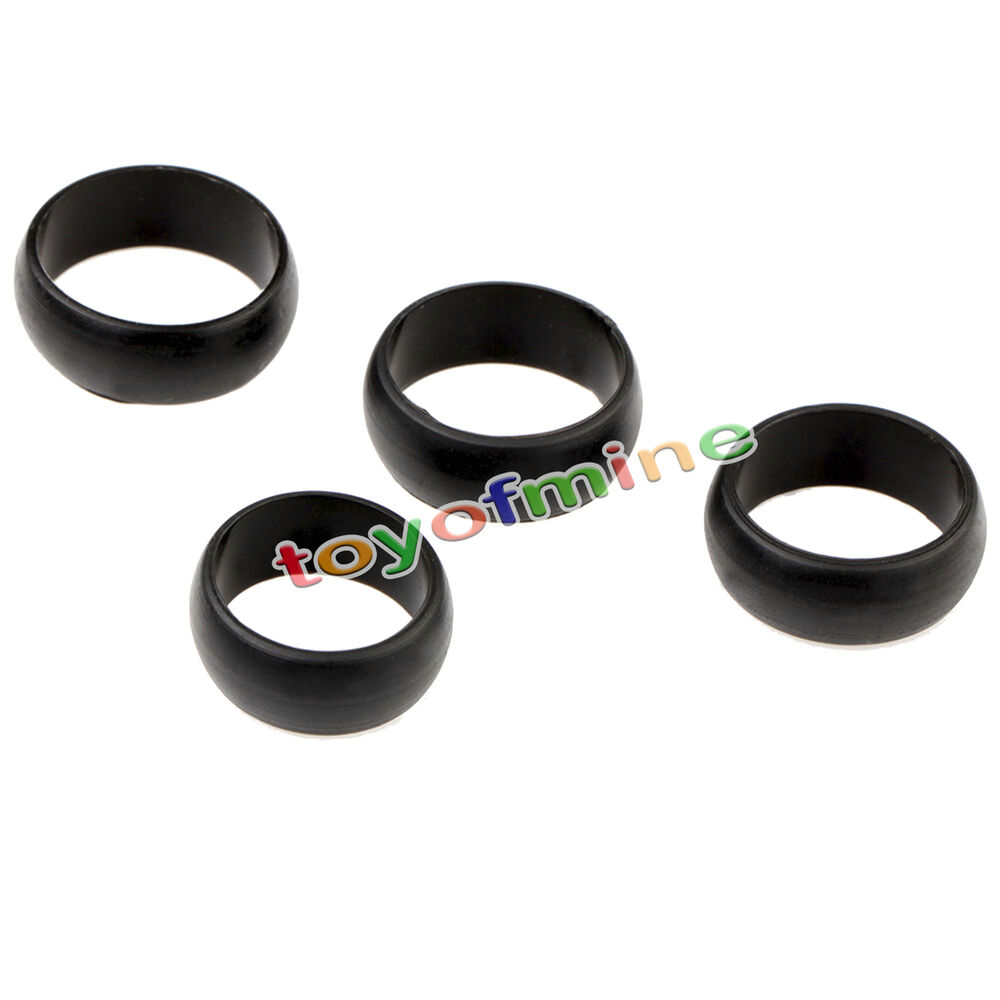 New 4 PCS MEN'S Silicone Wedding Ring Black Band Ring SIZE
