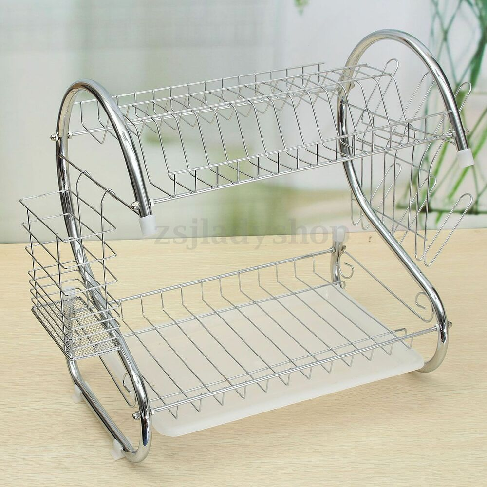 Stainless steel dish rack 2 tier space saver dish drainer drying holder sliver ebay - Dish rack for small space collection ...