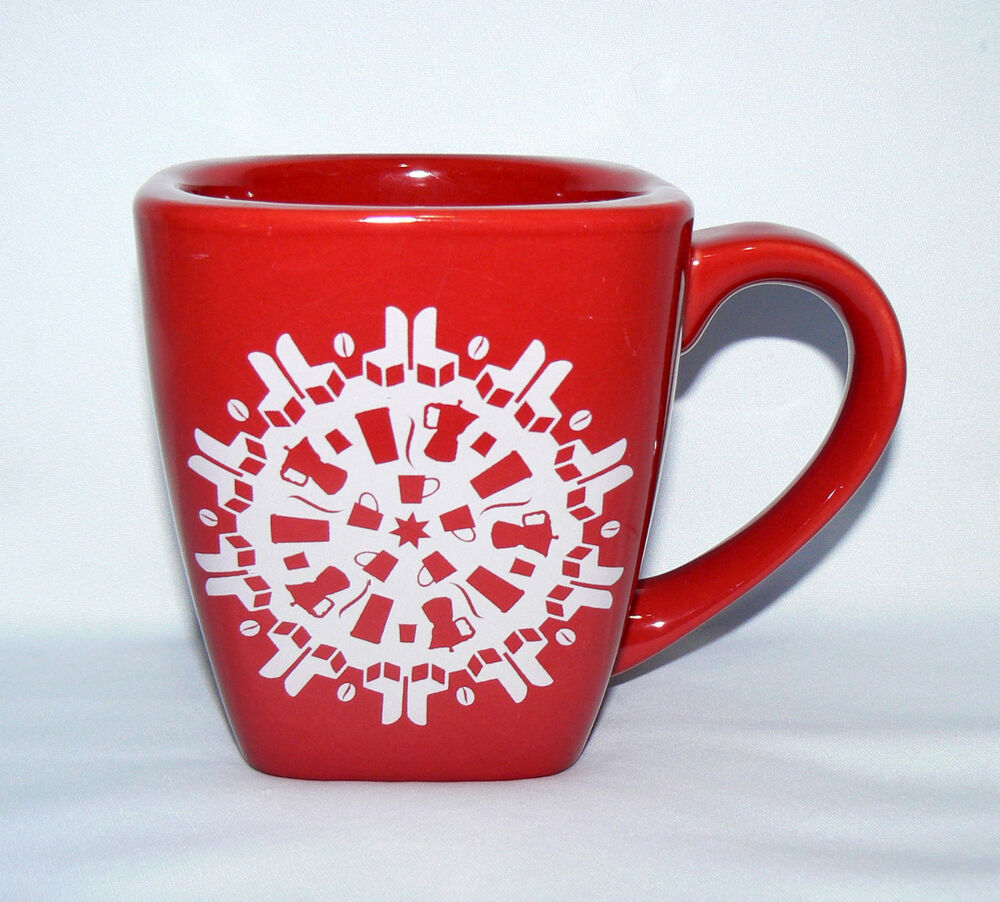 Starbucks 2004 10 Oz Snowflake Red Heavy Thick Coffee Mug