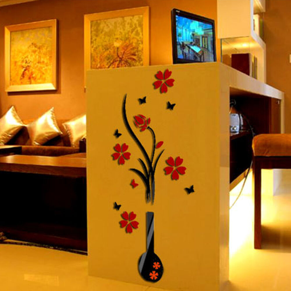 3d vase flower tree plastic wall sticker home room tv for Home decor 3d stickers