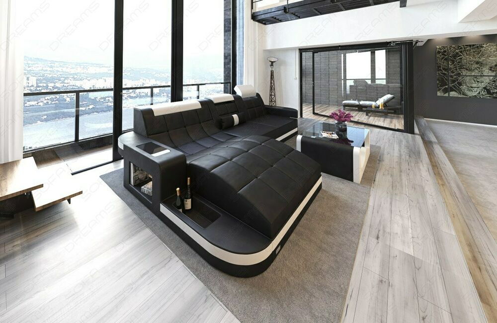 ledersofa wave l form eck luxus couch garnitur mit led rgb. Black Bedroom Furniture Sets. Home Design Ideas