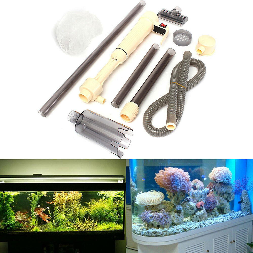 Aquarium battery siphon auto fish tank water vacuum gravel for Automatic fish tank cleaner