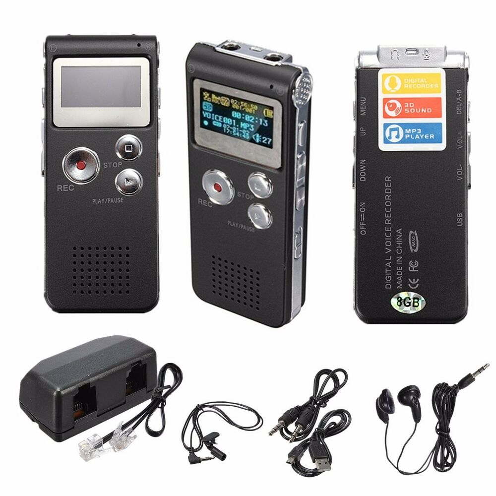 rechargeable 8gb 650hr digital audio sound voice recorder. Black Bedroom Furniture Sets. Home Design Ideas
