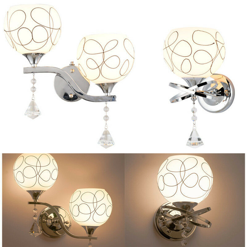 Small Bedroom Wall Lamps : New Modern LED Crystal Small Wall Lamp sconce Lights Bedroom Bedside lighting eBay