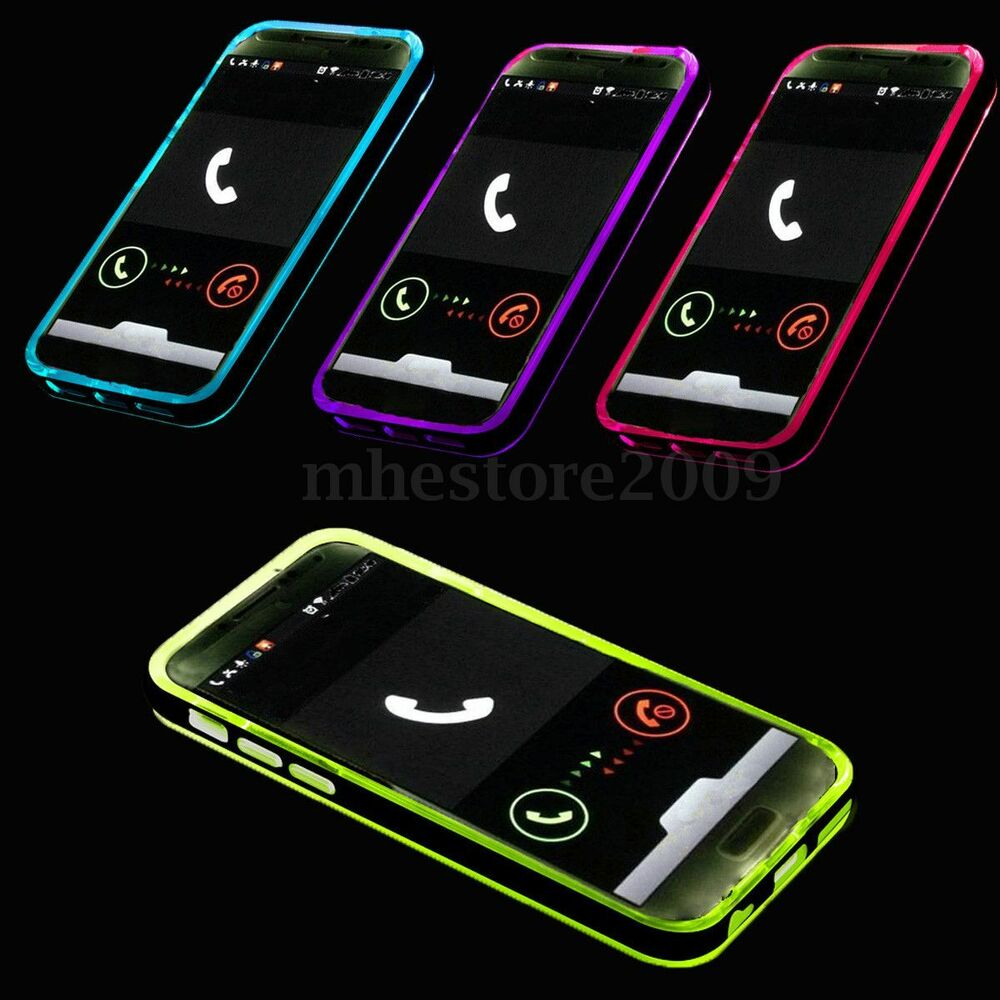 Incoming Call LED Lights UP Phone Frame Cover Case for Samsung S5 / S6 ...