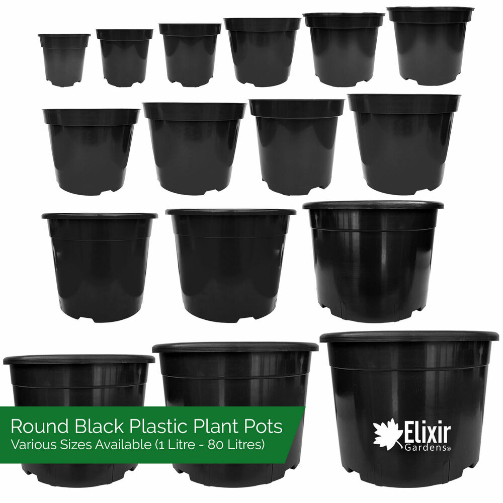 Strong Black Plastic Plant Pot Flower Pots Seed Planter In Various Sizes