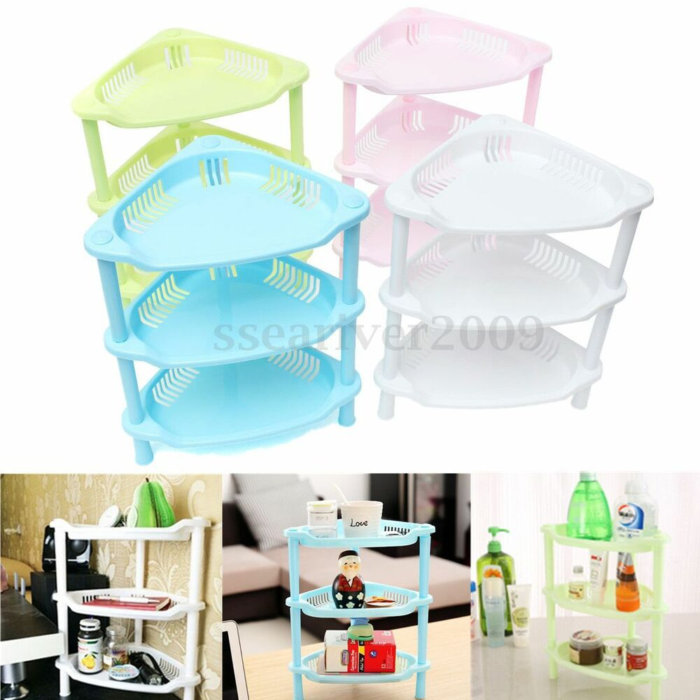 Kitchen Shelf Organiser: 3 Tier Plastic Corner Shelf Unit Organizer Cabinet