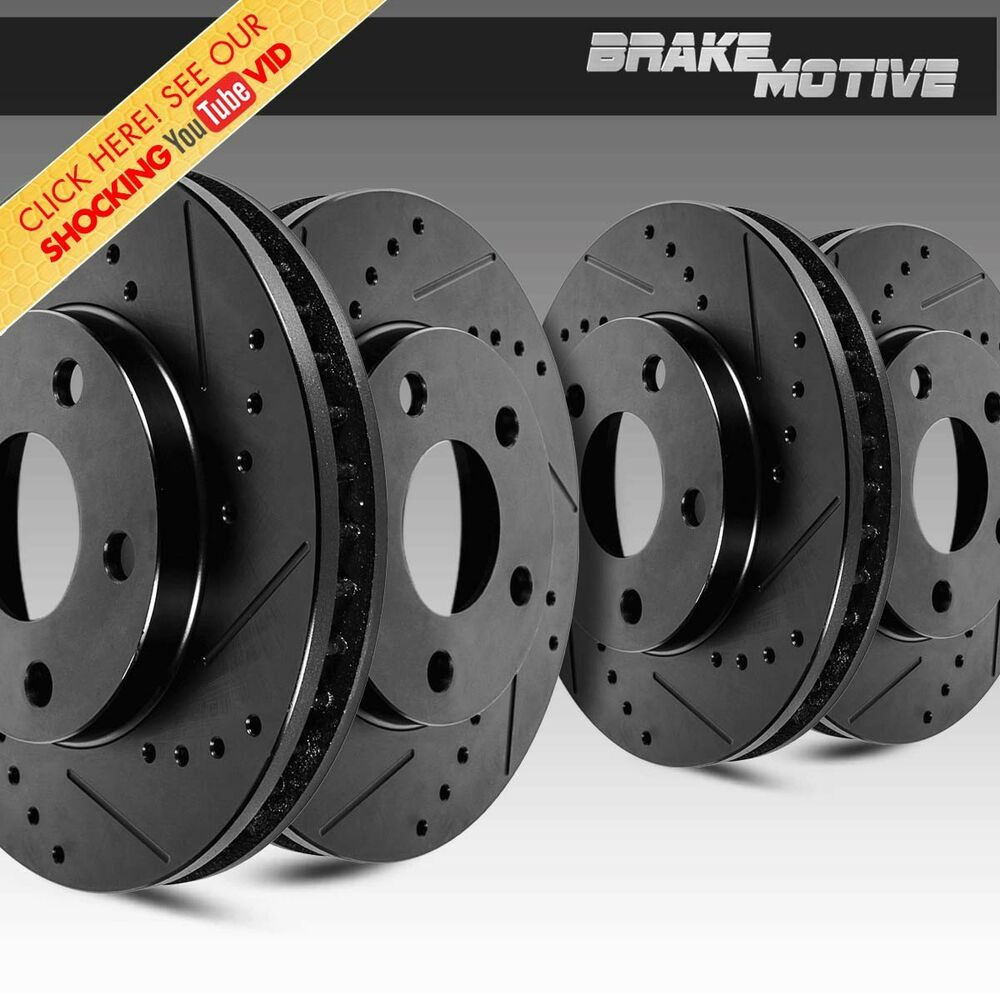 2004 Infiniti G35 Rotors: Front & Rear Black Drilled And Slotted Brake Rotors Kit