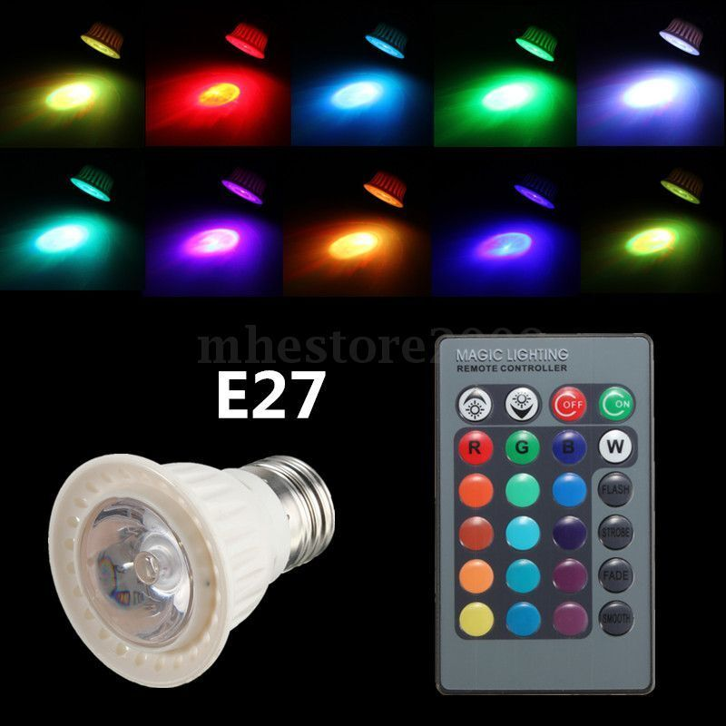 rgb multi color e27 3w led 16 colors changing spot light bulb ir remote control ebay. Black Bedroom Furniture Sets. Home Design Ideas