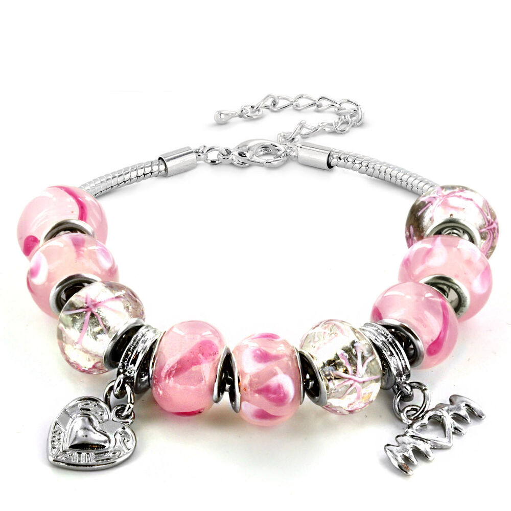 Silvertone Pink Murano Glass Bead and 'Mom' Heart Charm ...