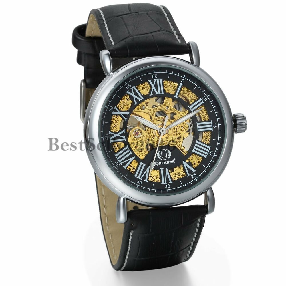Mens classic black leather band skeleton automatic mechanical wrist watch sport ebay for Classic skeleton watch