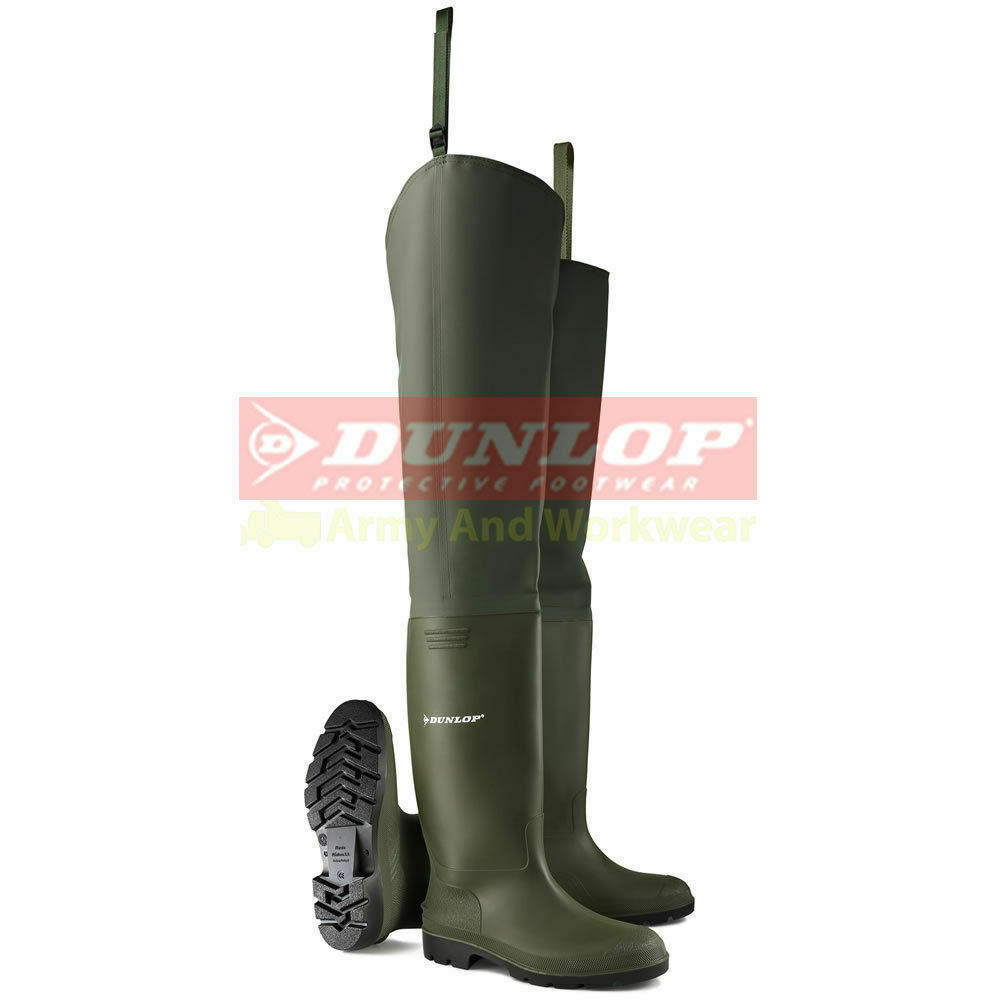 Dunlop 386vp thigh wader green waders waterproof non for Waterproof fishing boots