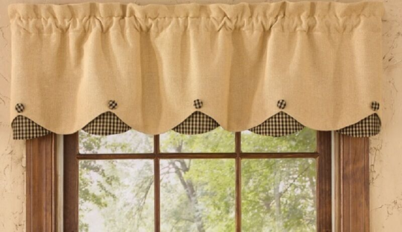 "Park Designs BURLAP, BLACK CHECK Lined Scalloped Window Valance 58""x15 ..."
