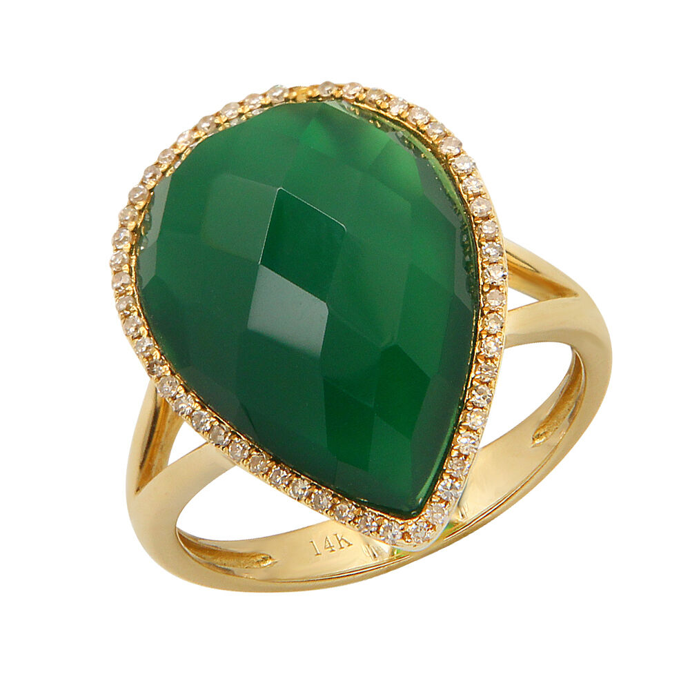 14k yellow gold pear green agate cocktail teardrop