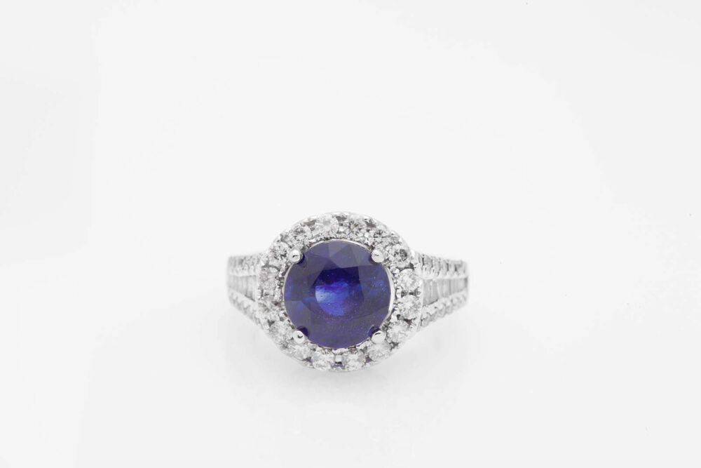 $12 000 6ct Natural Blue Sapphire Diamond 18k White Gold HALO Wedding Ring