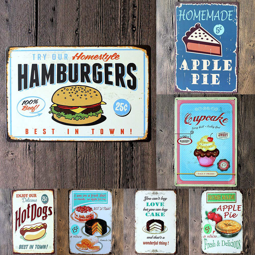vintage metal sign tin plaque tavern cake hambuger food wall decor retro poster ebay. Black Bedroom Furniture Sets. Home Design Ideas