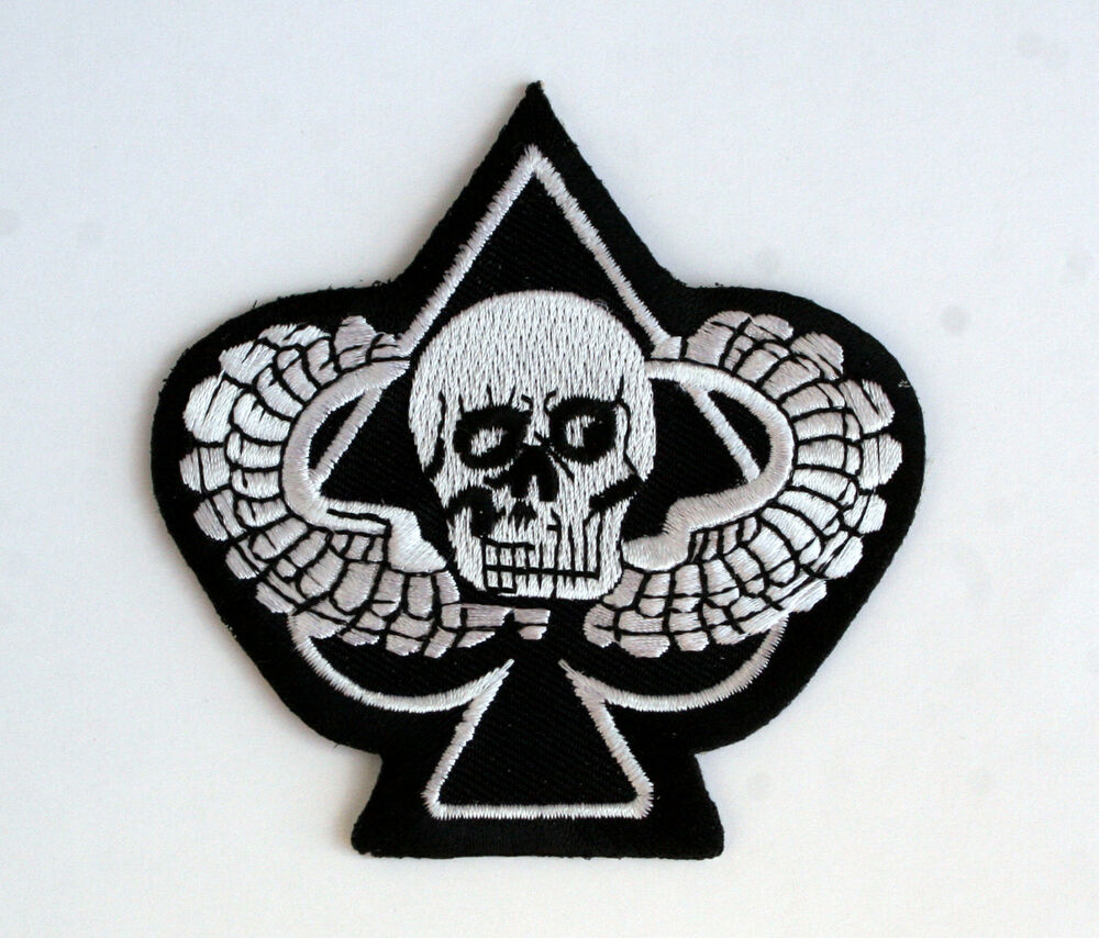 ACE OF SPADES SKULL PARACHUTE JUMP WING PATCH GRIM REAPER