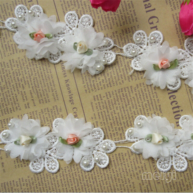 1yd vintage flower pearl lace edge trim ribbon wedding for Craft ribbons and trims