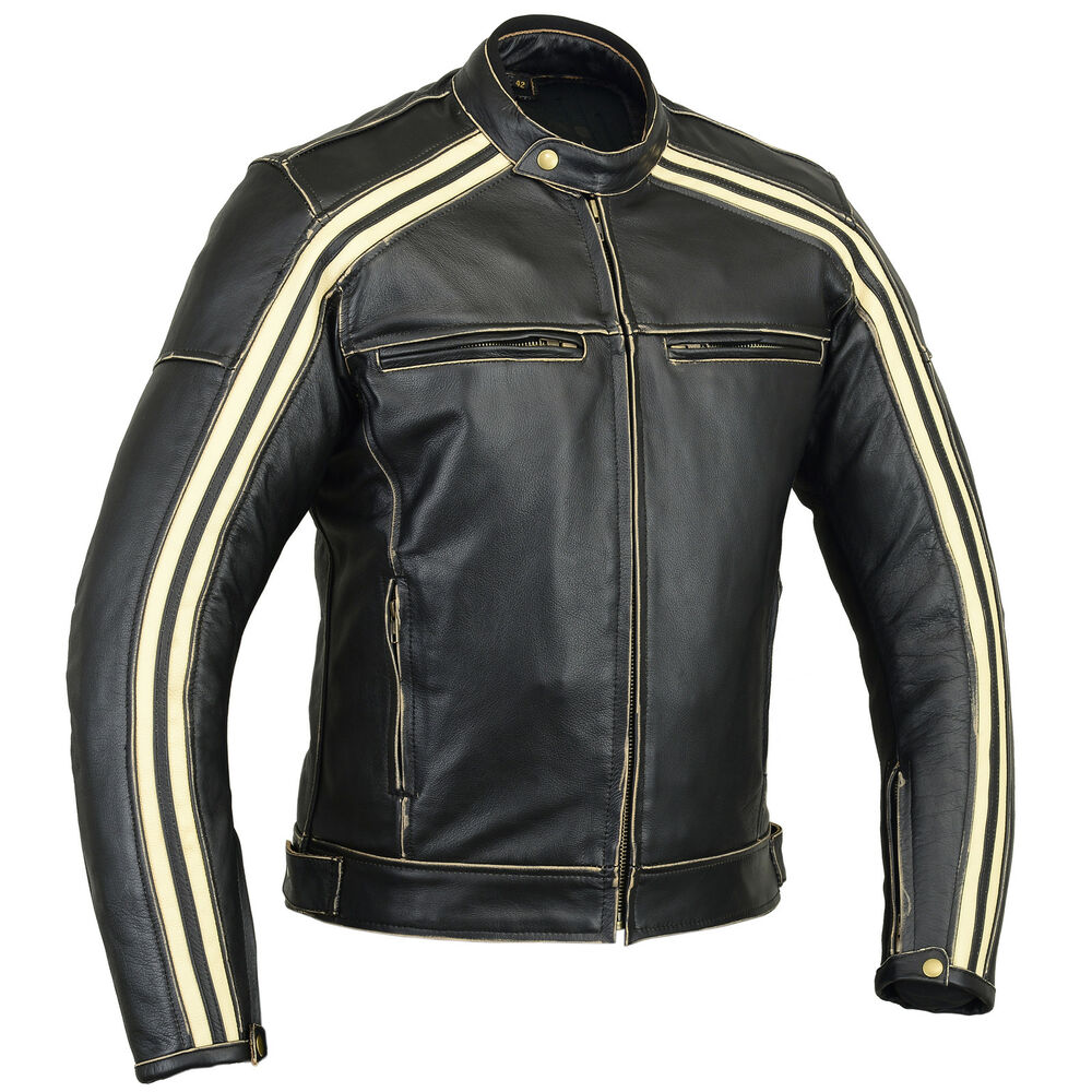 old school vintage cafe racer mens motorcycle leather jacket premium grade leat ebay. Black Bedroom Furniture Sets. Home Design Ideas