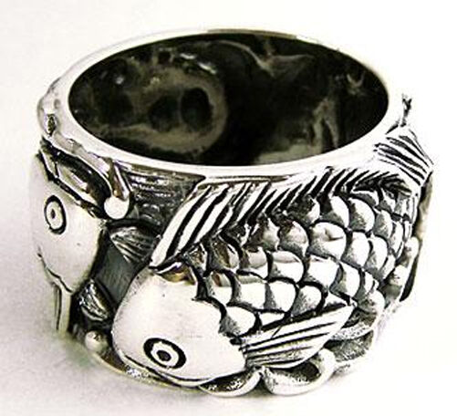 Japanese koi carp lucky fish solid 925 sterling silver for Koi fish ring