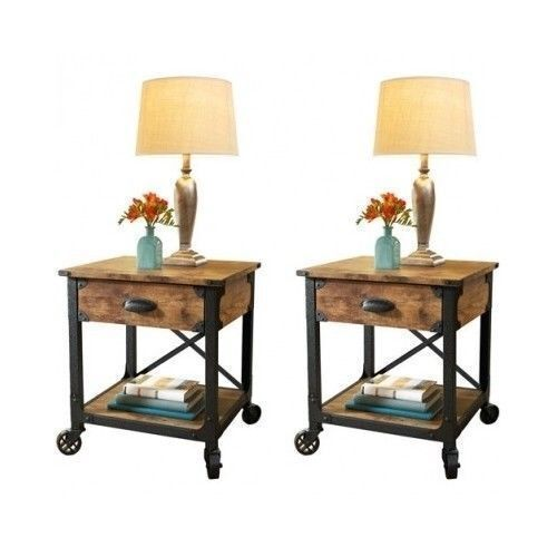Bedside End Tables Bedroom Nightstand Country Vintage. Wood ...