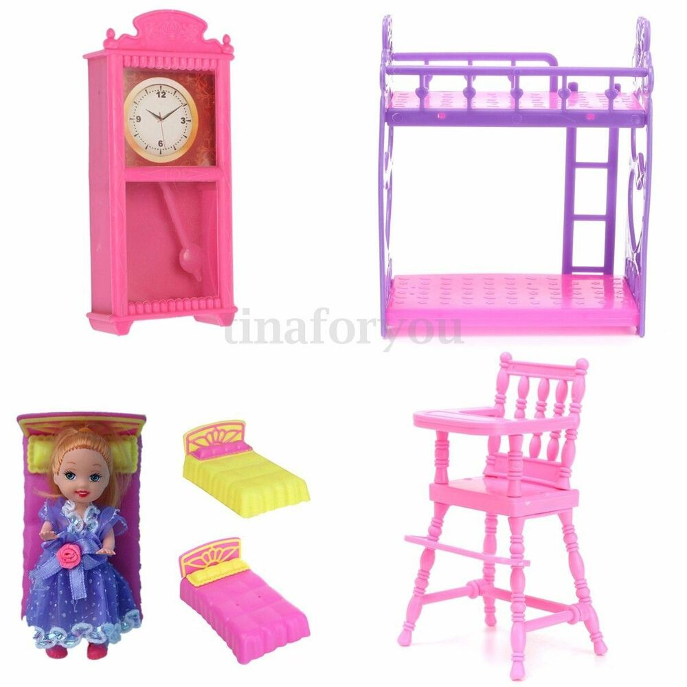 Plastic Miniature Bed Clock Baby Chair Doll 39 House Dollhouse Toy For Barbie Ebay