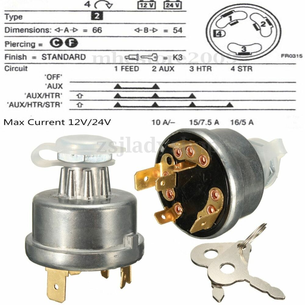 A Tractor In A Car Ignition Wiring : Universal tractor ignition switch starter key for massey