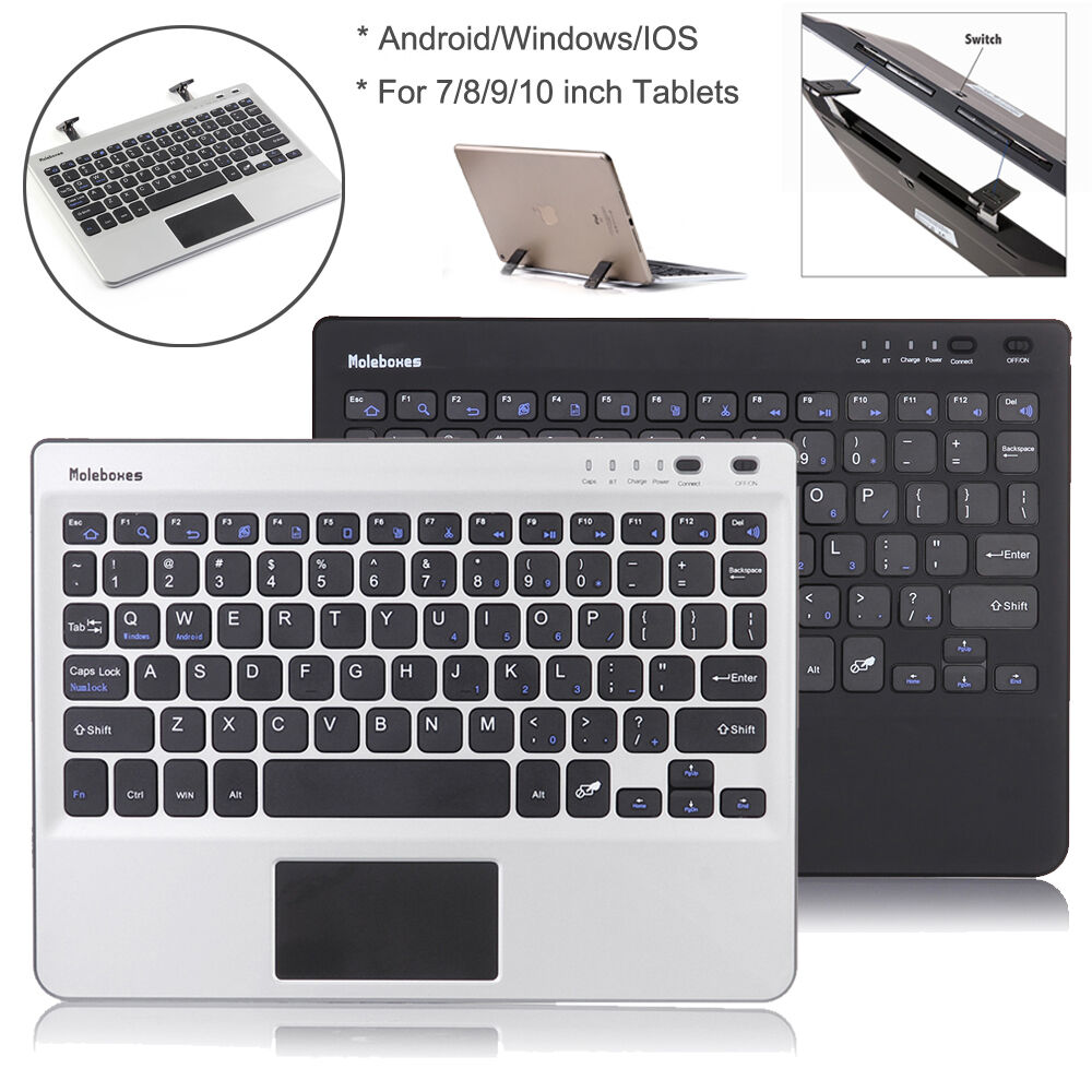 For 7/8/9/10 Inch Tablet Stand Wireless Bluetooth Keyboard W/Touchpad Function