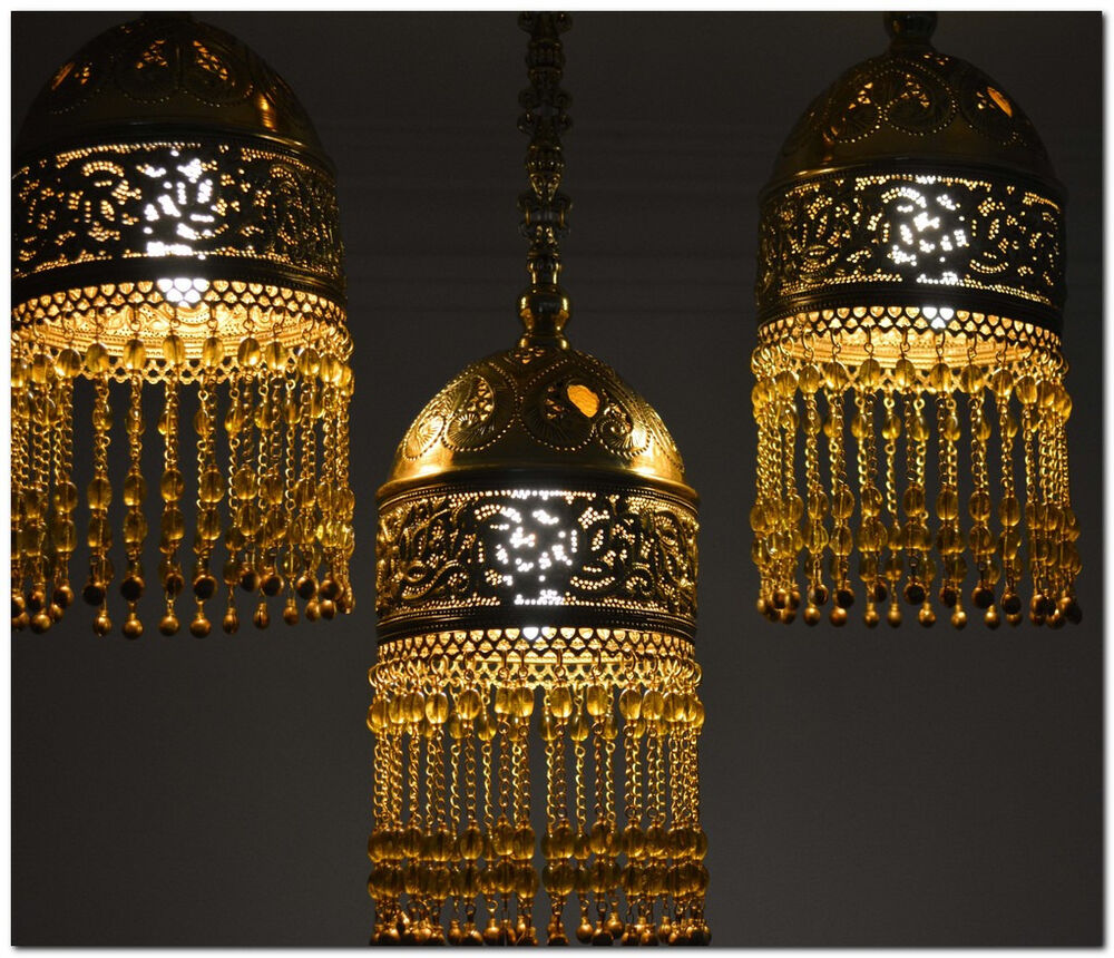 3 In 1 Handcrafted Moroccan Brass Flush Mount Ceiling Lamp