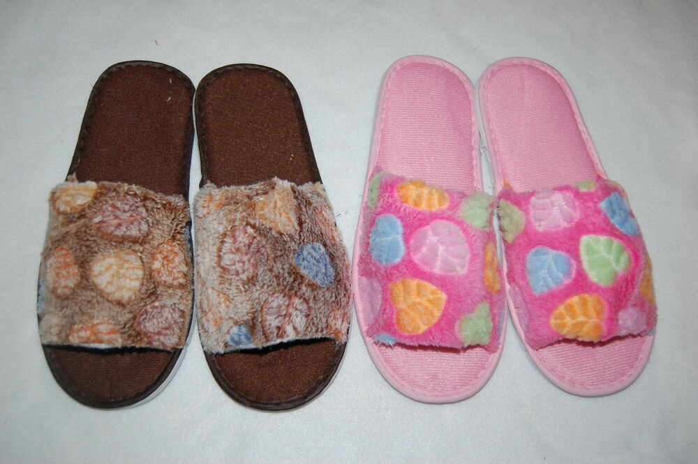 womens slippers 2 pr lot soft terry slides house shoes