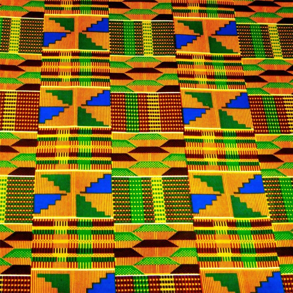 African Kente Print Cloth Cotton Fabric Wax Dyed Gold