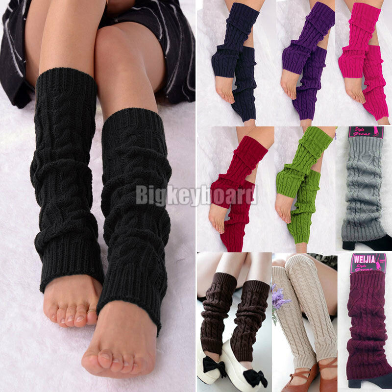 Knitting Pattern For Thigh High Leg Warmers : Women Winter Knit Crochet Leg Warmers Knee High Trim Socks ...