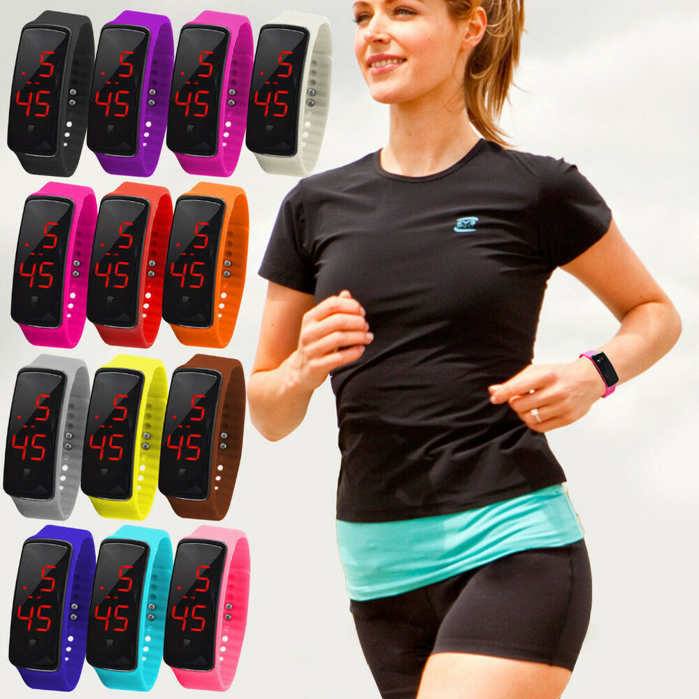 fashion digital led sports watch unisex silicone band. Black Bedroom Furniture Sets. Home Design Ideas