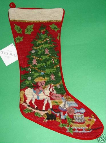 Sferra Wool Needlepoint Christmas Stocking Tree With Boys