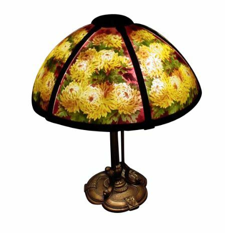 Reverse Painted 6 Panel Pairpoint Lamp W Chrysanthemums