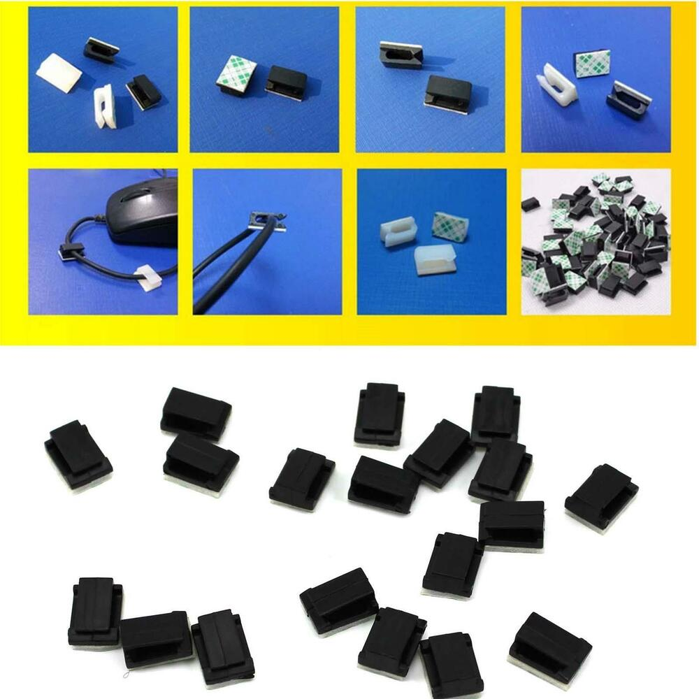30pcs car wire cord cable holder tie clips fixer organizer drop adhesive clamps ebay. Black Bedroom Furniture Sets. Home Design Ideas