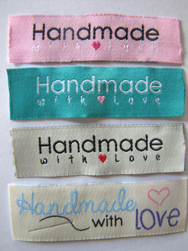 20 mix quothandmade with love quot sew on woven labels craft With handmade with love sewing labels
