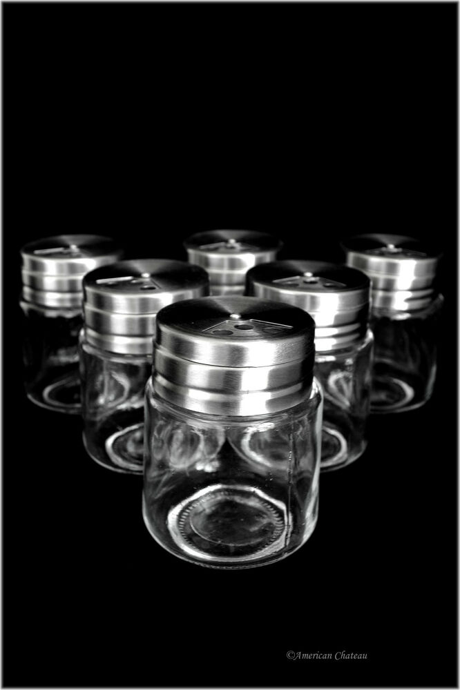 Set 6 Kitchen Spice Shaker Glass Storage Jars W Stainless