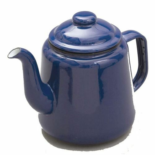 falcon blue enamel tea pot with handle lid camping teapot 1 5l ebay. Black Bedroom Furniture Sets. Home Design Ideas
