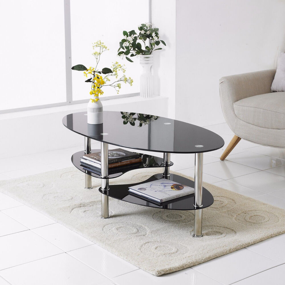 Modern Black Glass & Chrome Oval Living Room Coffee Table ...