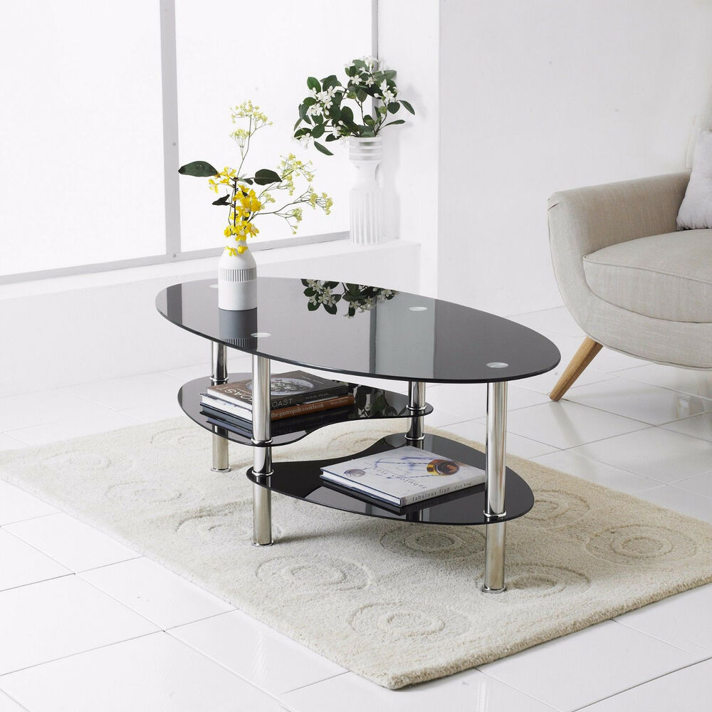 Modern Black Glass & Chrome Oval Living Room Coffee Table