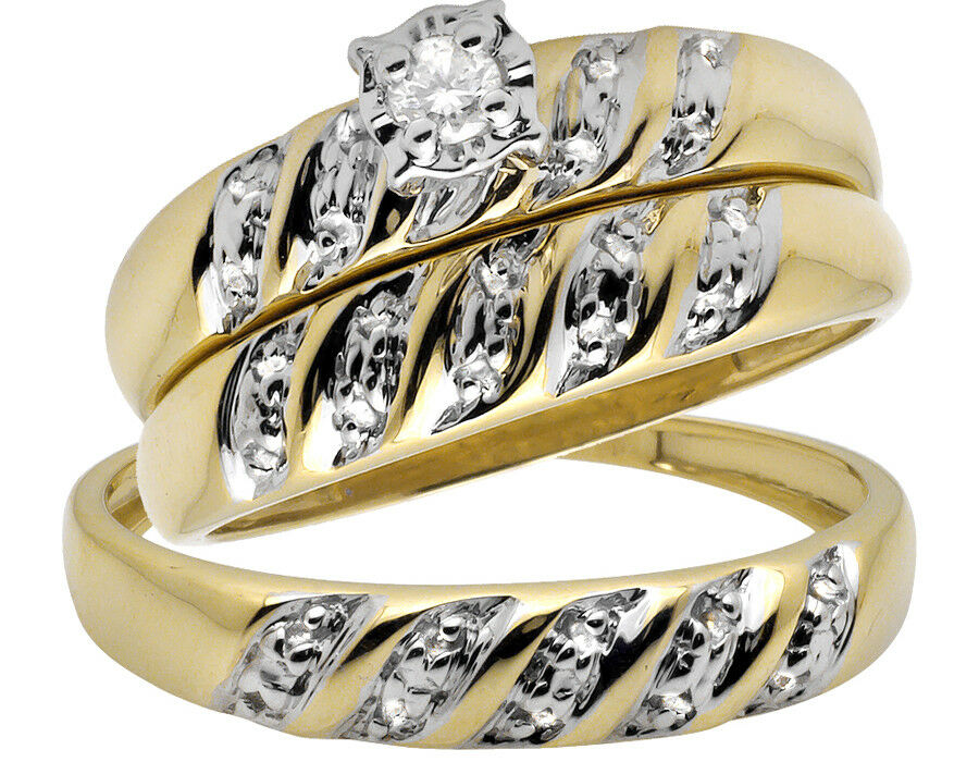 wedding engagement ring sets 10k yellow gold trio miracle set swirl engagement 9442