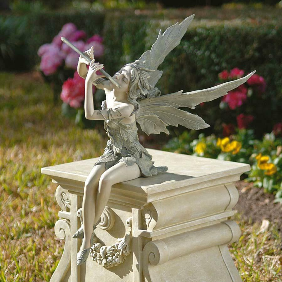 joyful flute playing fairy sitting statue garden pixie. Black Bedroom Furniture Sets. Home Design Ideas