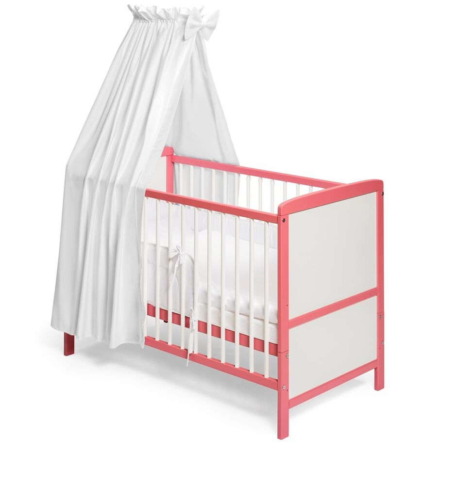 babybett kinderbett umbaubar weiss rosa 120x60. Black Bedroom Furniture Sets. Home Design Ideas