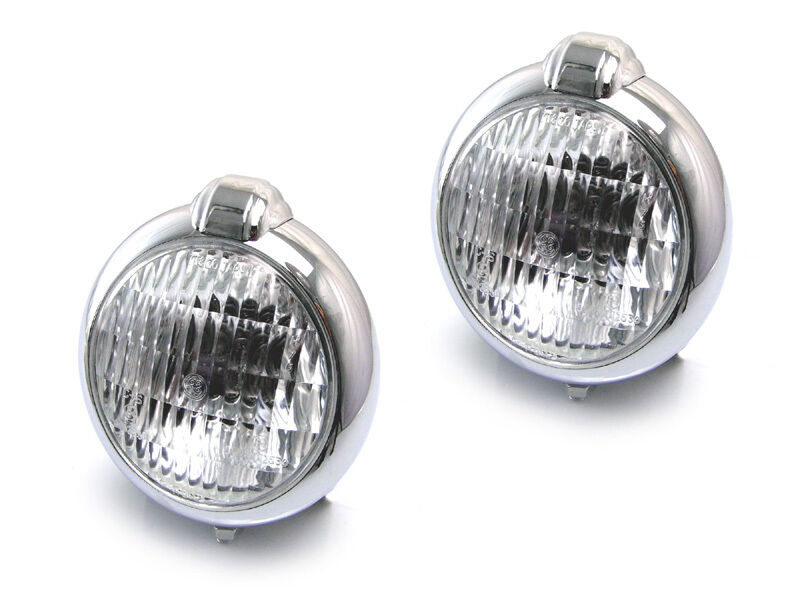 Pair Of Chrome Metal Headlights Headlamps Suitable For