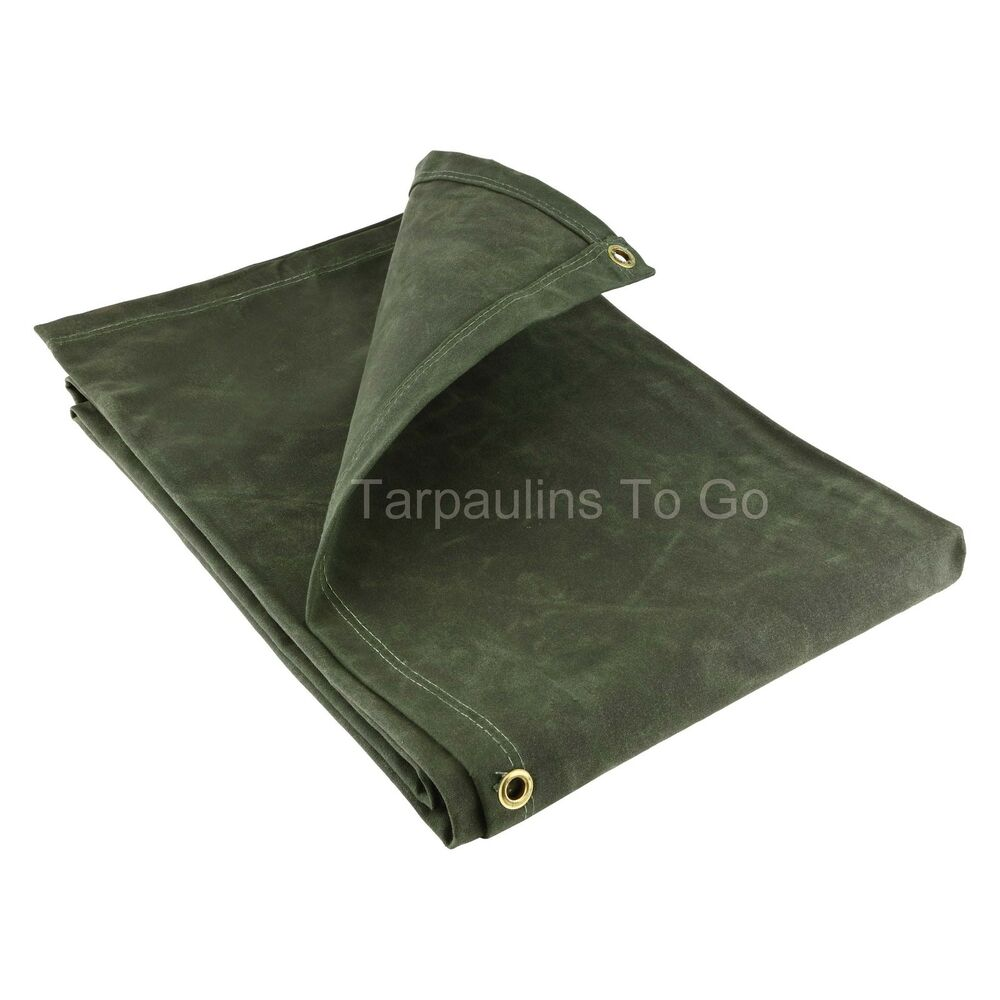 Colour roof sheets - Canvas Heavy Duty Waxed Cotton Tarpaulin Cover 21oz Green Boat Log Sheets