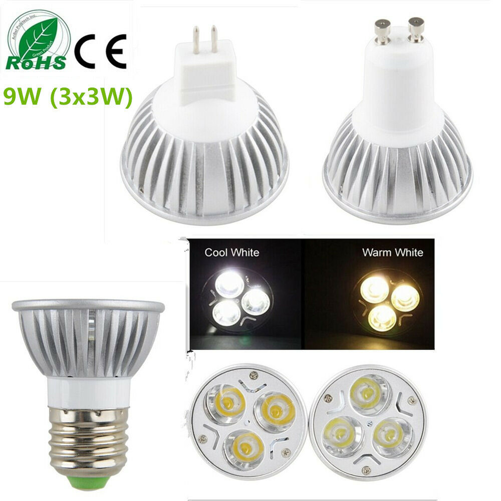 Dimmable Epistar Led Lamp Bulb Mr16 Gu10 E27 Warm Cool Ceiling Light 9w 3x3w Ebay